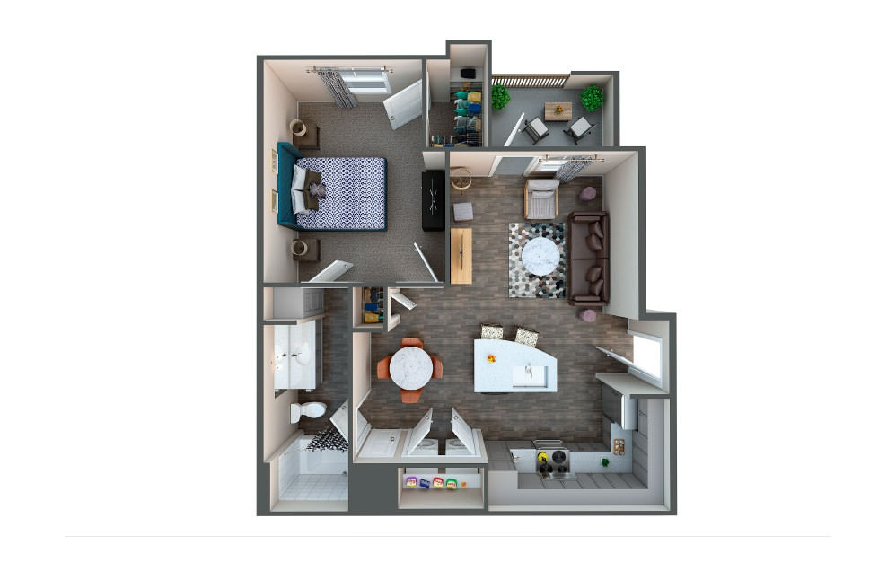 Wheat - 1 bedroom floorplan layout with 1 bath and 732 square feet.