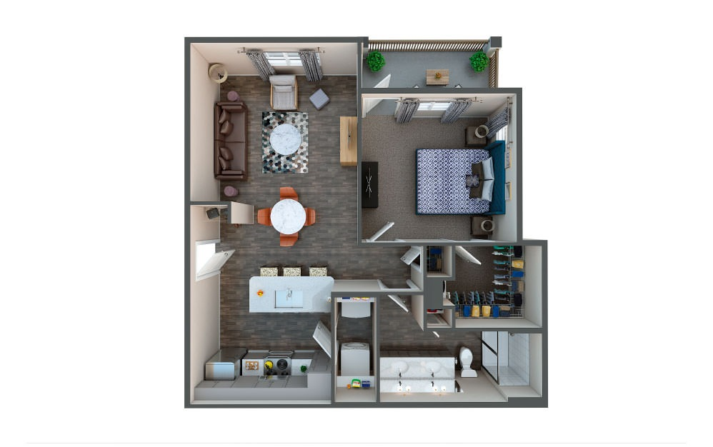 Barley - 1 bedroom floorplan layout with 1 bath and 786 square feet.