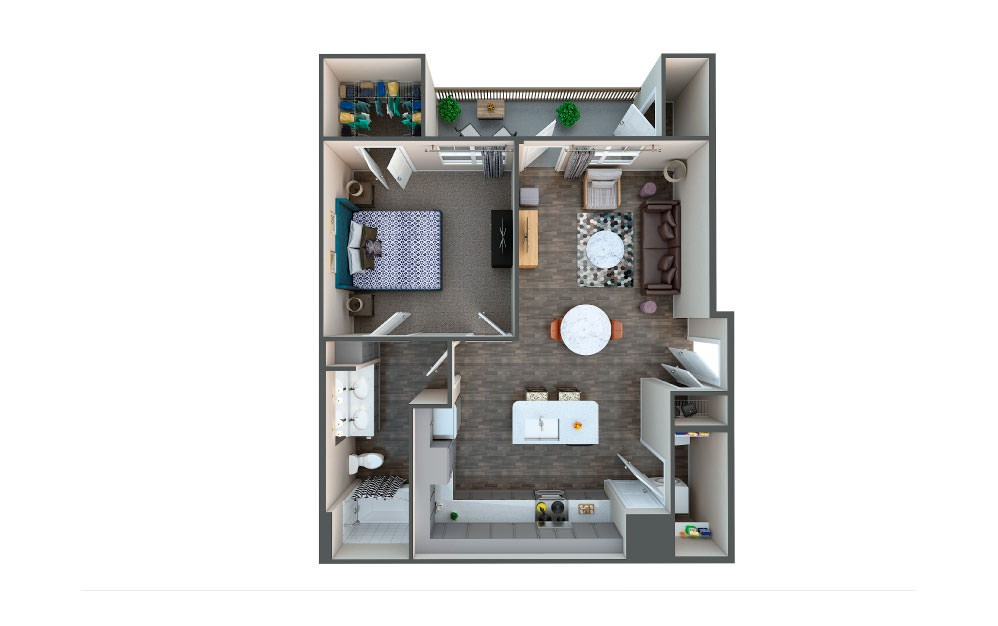 Rye - 1 bedroom floorplan layout with 1 bath and 808 square feet.