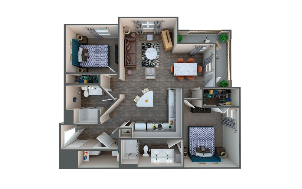 Hickory  - 2 bedroom floorplan layout with 2 baths and 1045 square feet.