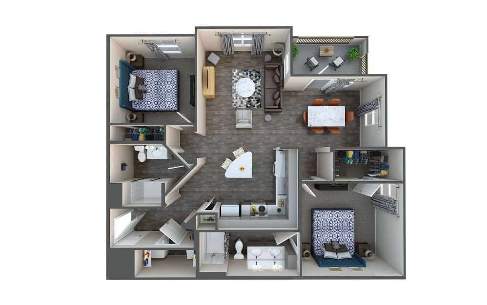 Cedar - 2 bedroom floorplan layout with 2 baths and 1124 square feet.