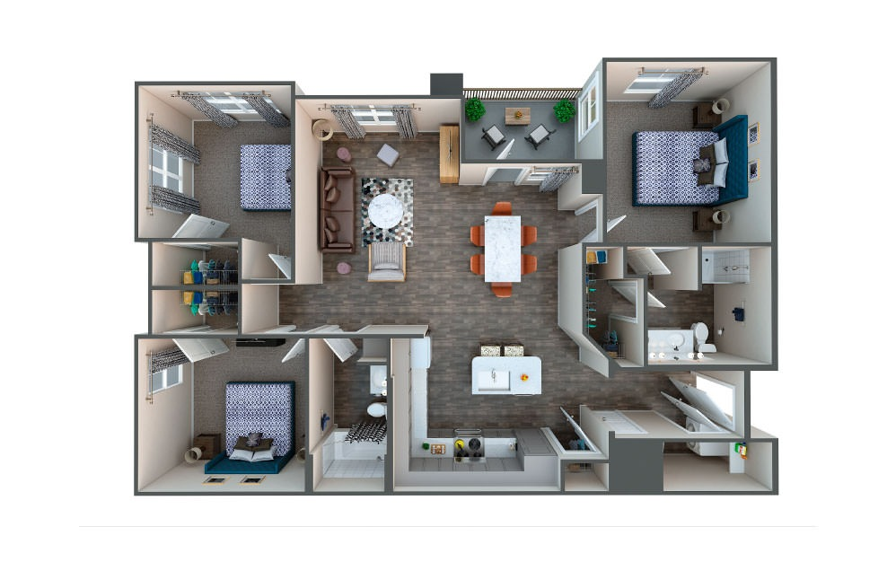 White Oak - 3 bedroom floorplan layout with 2 baths and 1318 square feet.