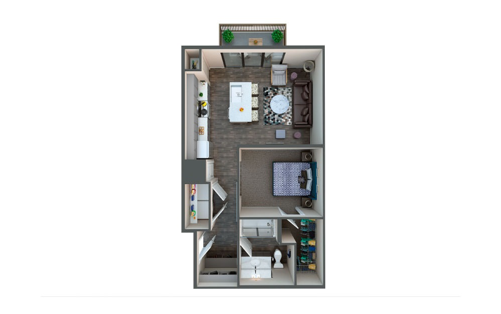 Copper - 1 bedroom floorplan layout with 1 bath and 600 square feet.